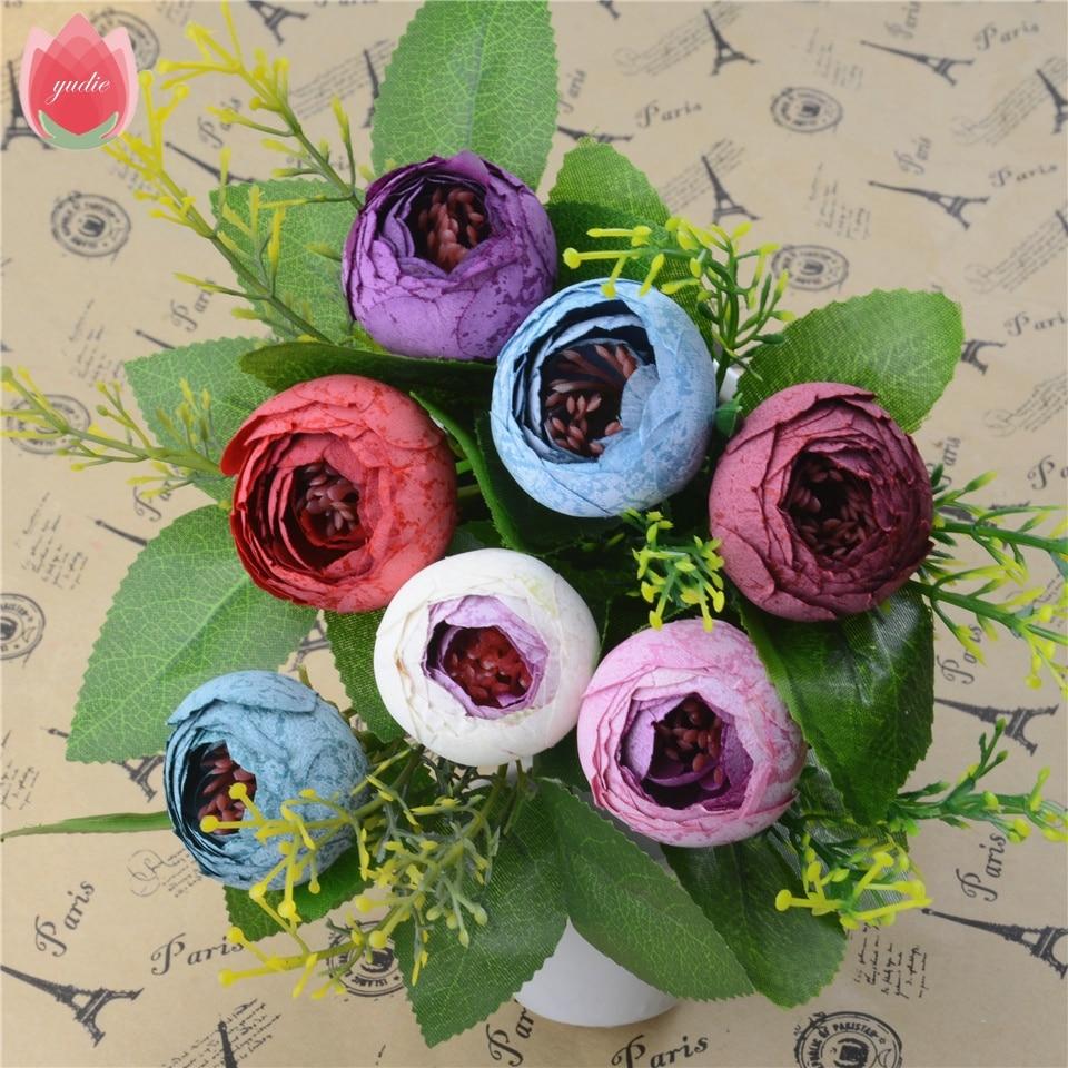 5pcs Spring Silk Mini Small Tea Bud Artificial Flower For Wedding Home Decoration Camellia Mariage Flores Satmen Flowers Plants