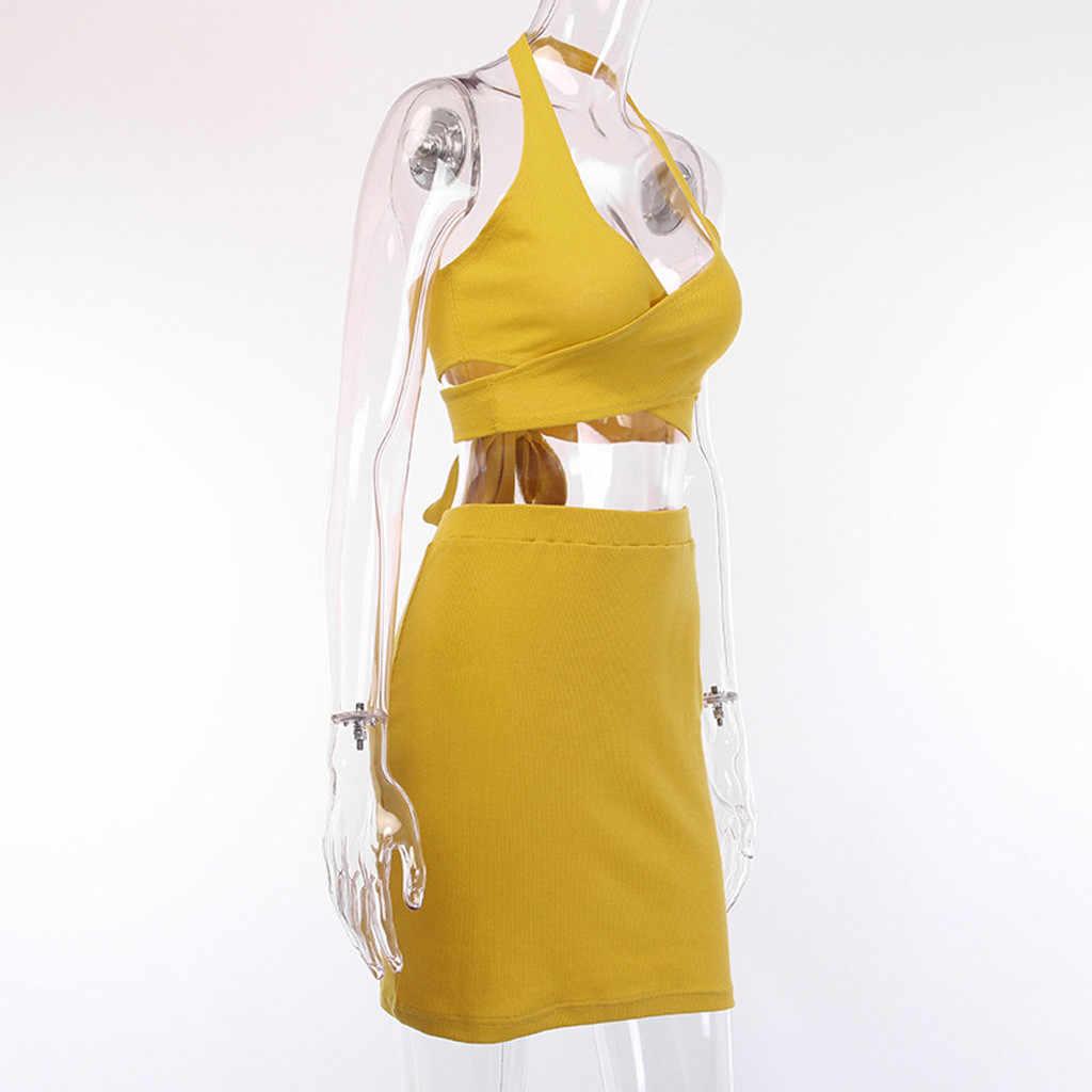 Jaycosin 2019 novo verão feminino terno sexy amarelo apertado encaixe criss-cruz arco bandagem topo de colheita saia curta definido para praia 904254