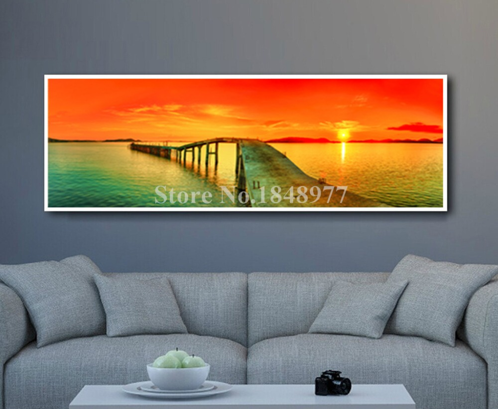 Large Modern Sunset Seaview Decorative Painting Natural Scenery Oil  Paintings Hotel Restaurant Bar Mural Bedroom Wall Art Decor In Painting U0026  Calligraphy ...