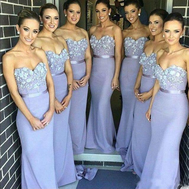 55d7c74a13892 2019 Elegant Lilac Long Bridesmaid Dress Mermaid Sweetheart Handmade  Flowers Wedding Guest Dress Vestido Madrinha