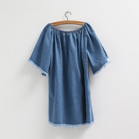 7d52b6d77c3 Casual Blue Denim Dress 2015 Summer Korean Style Vintage Frayed Tassel  Slash Neck Off Shoulder Jeans Dress Vestido Jeans D113-in Dresses from  Women s ...
