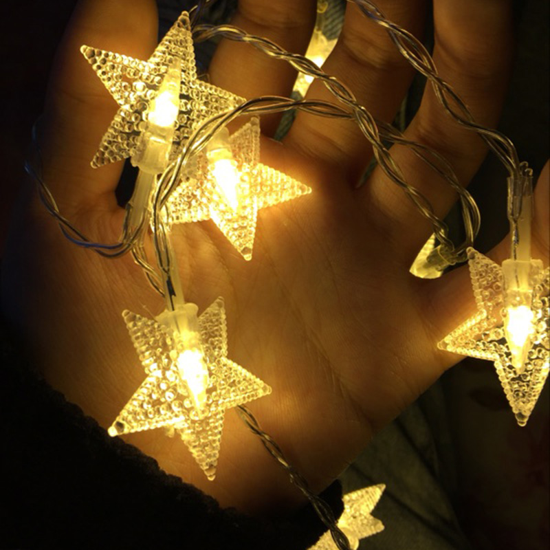 Feimefeiyou 1M2M 10/20LEDs Battery Operated String Fairy Lights LED Star Flower Outdoor Christmas Tree Decorations Garland Decor