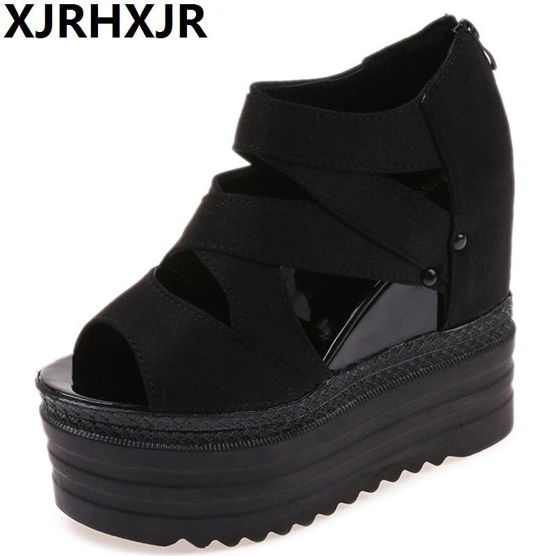 XJRHXJR 2018 Brand Designer Women Summer Sandals Thick Heel Platform Wedges Sexy Beading Peep Toe Sandals Boot Black White