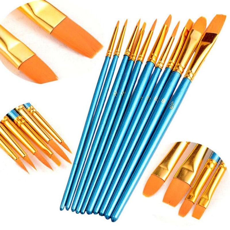 10pcs/Set Pearlescent Blue Nylon Hair Combination Brush Set Paint Makeup Brush Craft Supplies Watercolor Water Chalk Paint Brush