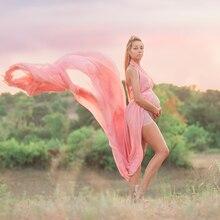 ソフトシフォン V ネックローカットマタニティ写真の小道具妊娠服マキシマタニティ写真撮影ドレスロングドレスガウン
