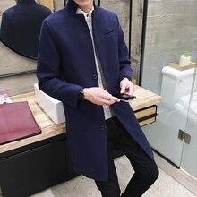 2017 Mens fashion boutique wolle reine farbe geschäfts stehkragen woolen staub mäntel/Male qualität Slim freizeit trenchcoats