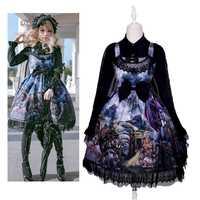 Vintage Gothic Lolita Dress Dragon & Knight Cat Cosplay Costume Print Princess JSK Dress Party Sleeveless Bows Gown Dress