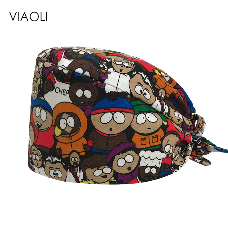Viaoli Wholesale Prices Surgical Cap Dental Salon Male And Female Doctor Nurse Cap Cotton Print Operating Room Work Hats/caps