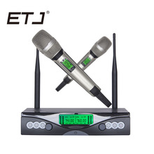 лучшая цена ETJ Brand Professional Karaoke Wireless Microphone VHF SKM9000 Double Handheld Transmitter Dual Microphones
