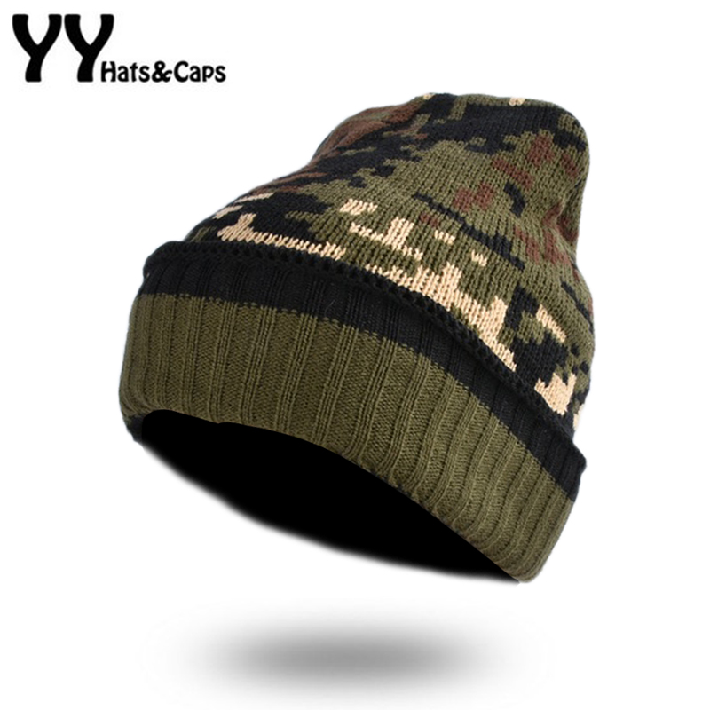 Knitted Camo   Beanies     Skullies   Thicken Lining Army Camouflage Hat for Men Hunting CS Winter Hat Warm Climbing Ski   Beanie   YY17276