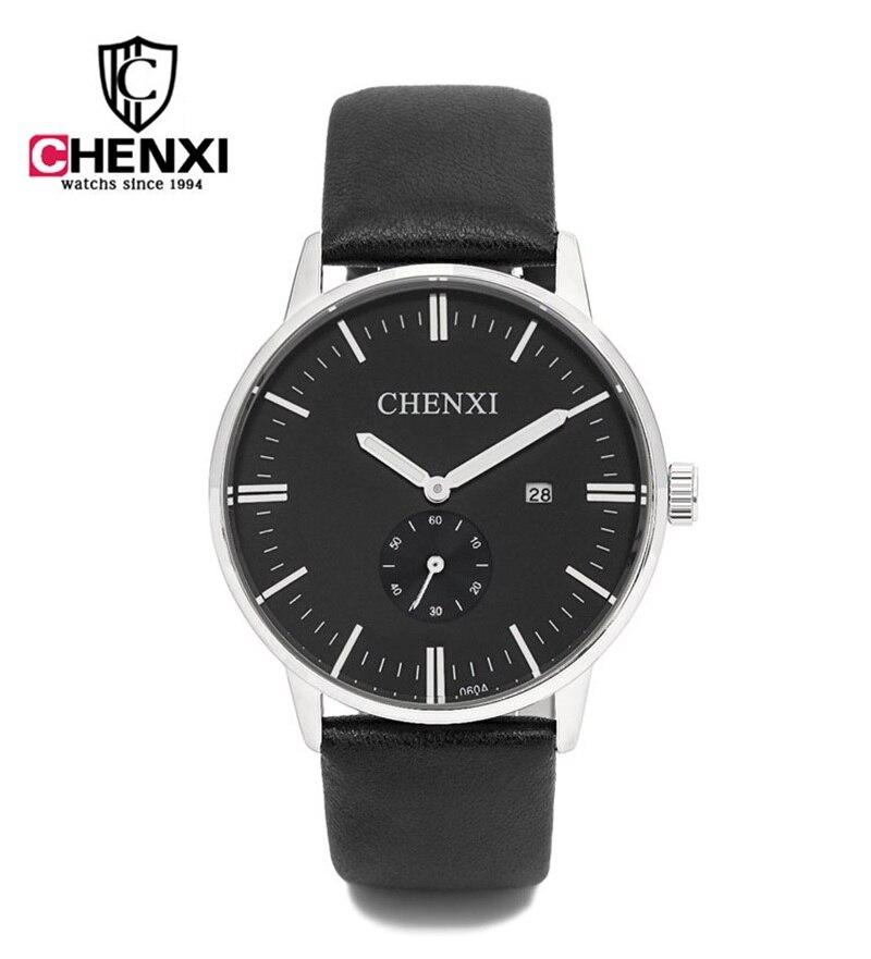 CHENXI Brand Men Business Watches Simple Analog Man Retro Wristwatch Genuine Leather Auto Calendar Quartz Clock montre homme стоимость