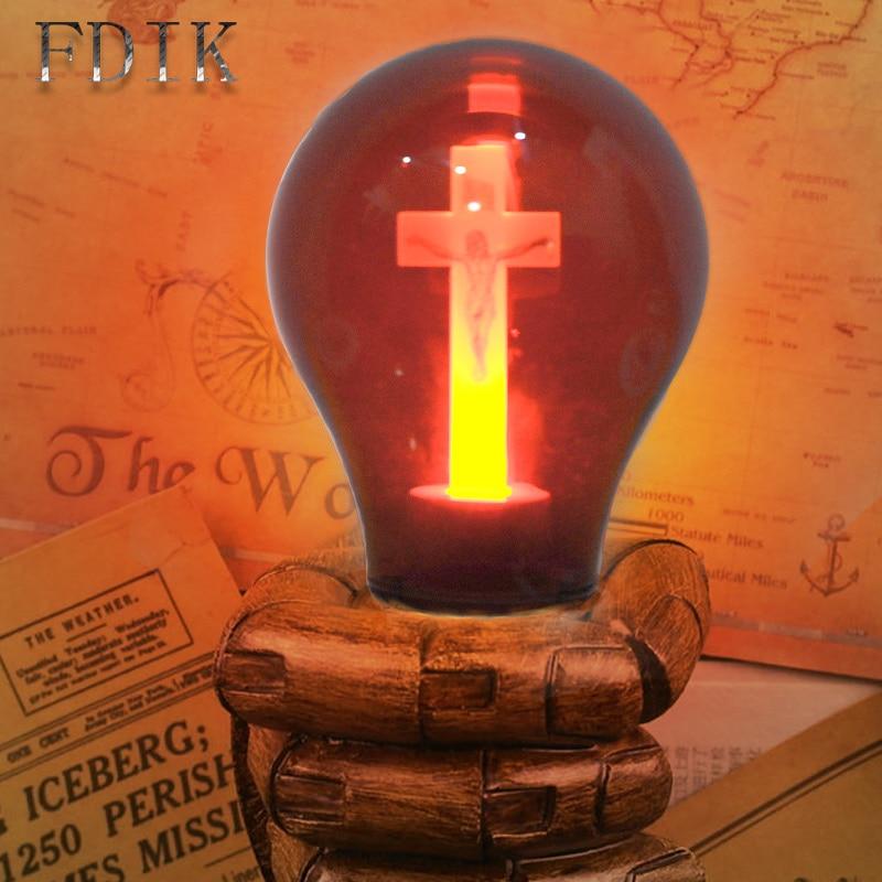 E27 LED ampoule rouge flamme paisible esprit lumière croix jésus église ampoule 90-265V cathédrale Bar prier hôtel carré lampe décorative
