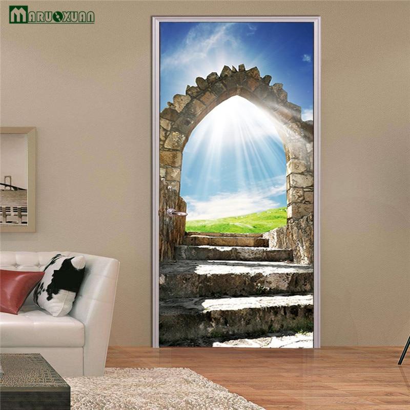 Maruoxuan 3d Door Sticky Grass Blue Sky Stickers Living Room Bedroom