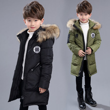 Kids boys hooded padded winter coat new fashion baby boy clothes 2017 children warm jacket and long sections for child