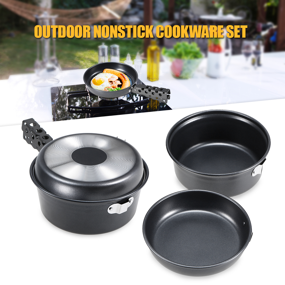 Outdoor Camping Pot Set Non stick Camping Cookware 2 3 Person Cook Set Nonstick Pot Pans for Backpacking Hiking Picnic-in Outdoor Tablewares from Sports & Entertainment