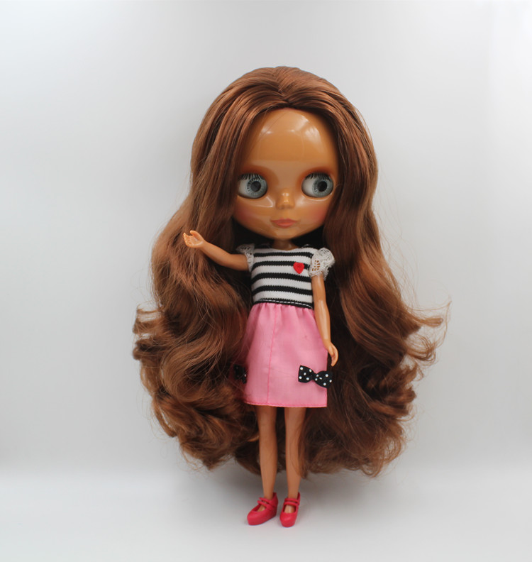 Blyth doll,Brown curly hair, black skin, 1/6, the body has 7 joints, suitable for collecting and giving gifts.