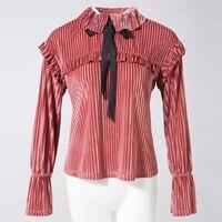 Women Autumn Lolita Velvet Blouse Korean Flare Sleeve Ruffles Bow Cute Peter Pan Collar Female Office