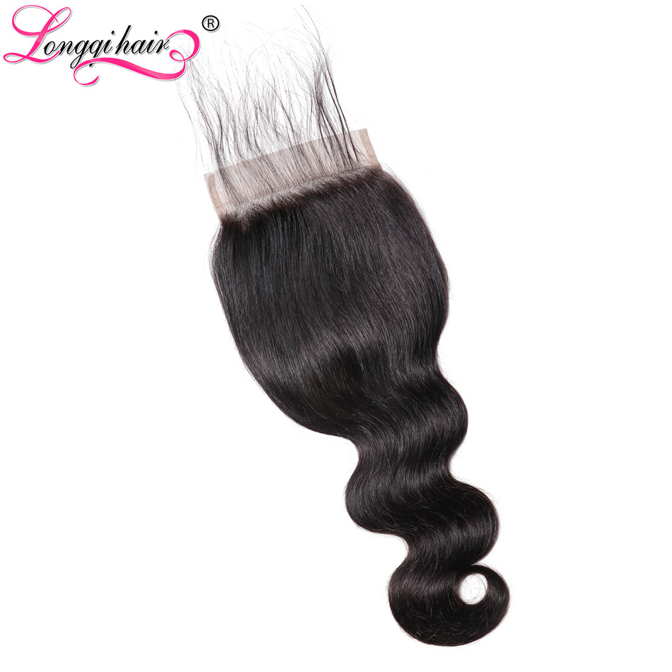 Longqi Hair 5x5 Malaysian Body WaveLace Closure With Baby Hair Density 120 Natural Color Remy Human