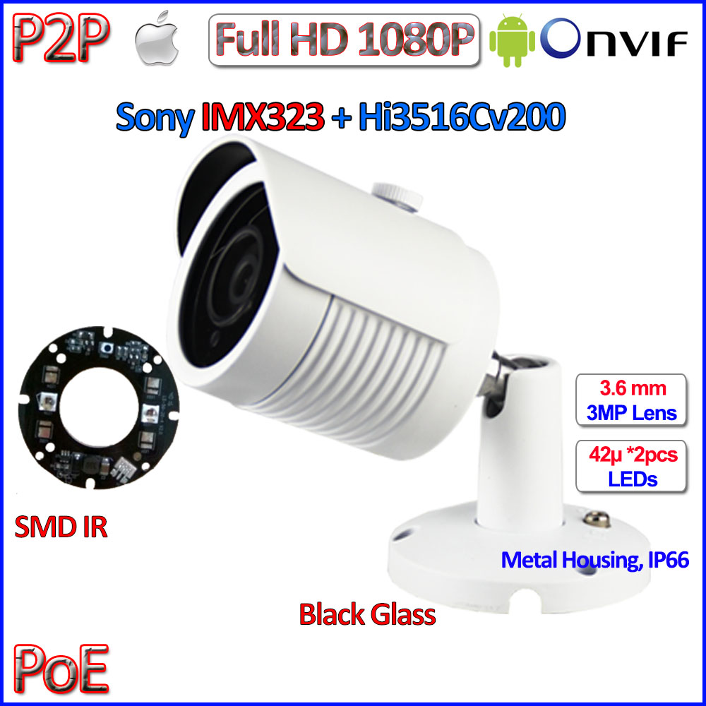 Hot 2MP POE camera 1080P p2p ip camera outdoor IMX323 Sensor Night Vision CCTV HD Lens, free bracket, IR-CUT, H.264, ONVIF 2.4 ds 2cd4026fwd a english version 2mp ultra low light smart cctv ip camera poe auto back focus without lens h 264