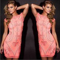 Top Quality Sleeveless Orange Pink Manual Beading Mini Bandage Dress Cute Celebrity Party Dress Vestidos 2017