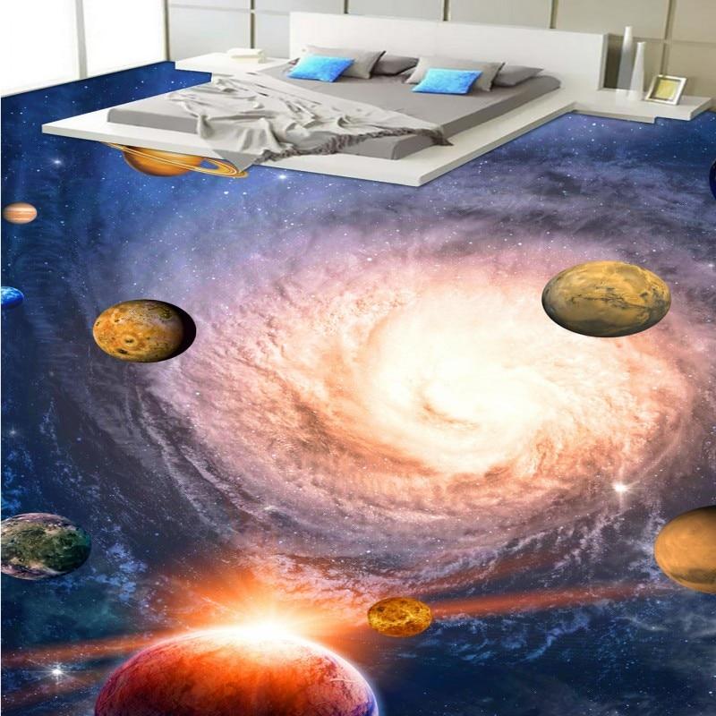 Free shipping custom anti-skidding thickened bathroom mural wallpaper Cosmic Planet Toilet Bedroom corridor 3D Floor flooring цена 2017