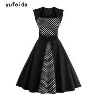 YUFEIDA Ladies Black Vintage Dress Retro 50s 60s Hepburn Style Sleeveless New Summer Party Dresses