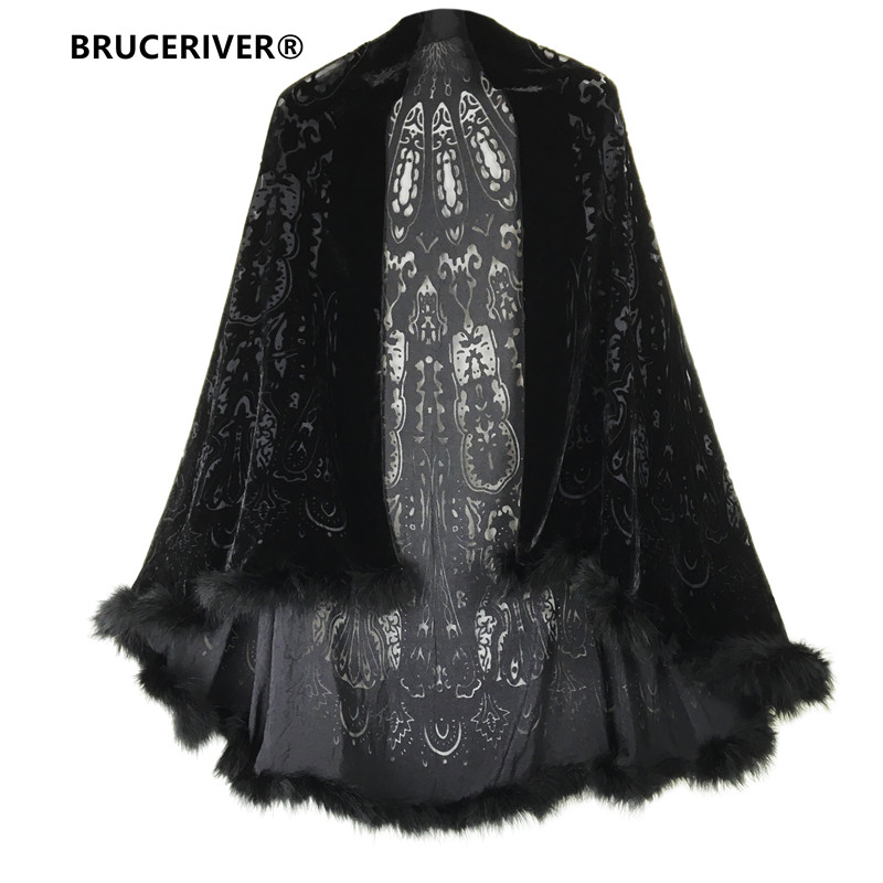 Bruceriver Women's Burn-out Velvet Cape With Feather