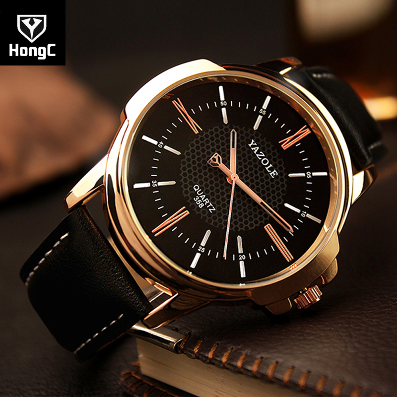 HongC fathers day gifts Watch Men Business Casual Leather Strap Wristwatch Clock Male Sport Watch Saaquartz