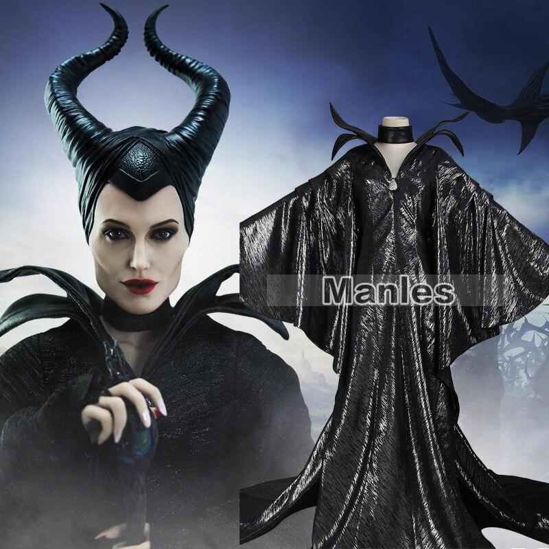 94 96 21 De Descuento Malefica Traje Malefica Cosplay Maleficent Disfraz De Halloween Para Adultos Mujeres Ninas Con Headwear Negro Vestido