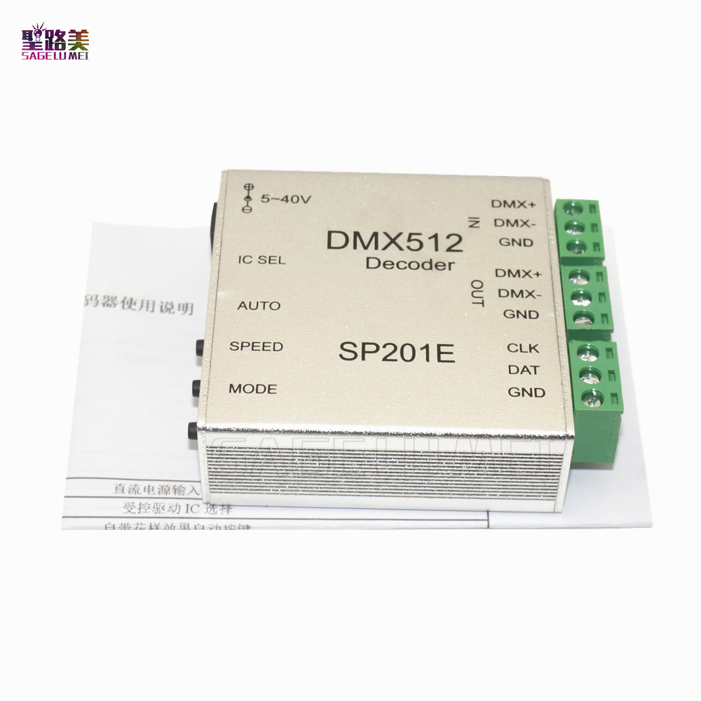 SP201E DMX512 Led Decoder Controller Support Almost Every Kind Of LED-DRIVER-IC RGB Controller 2811 2812 6803 2801 APA102 Tape