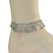 Women's Ankle Bracelet & bangles Silver Tone 2 layers Tassel Crystal Jewelry Chain Anklet A8US