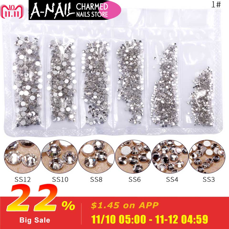 1 Pack Flatback Glass Nail Rhinestones Mixed Sizes SS3-SS12 Nail Art Decoration Stones Shiny Gems Manicure Accessories Tools