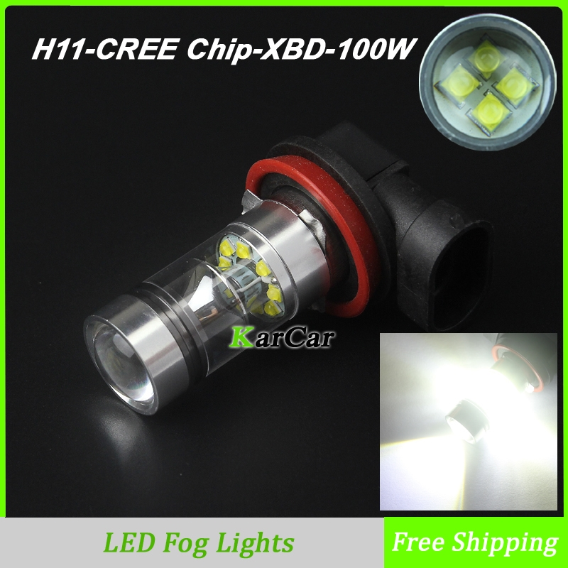 Prix pour 100 W 1000LM CREE Puce XBD H11 LED Brouillard, 12 V-24 V Auto Voiture Super Lumineux Tête Brouillard Lampe H8 Conduite DRL Daytime Running Light Bulb