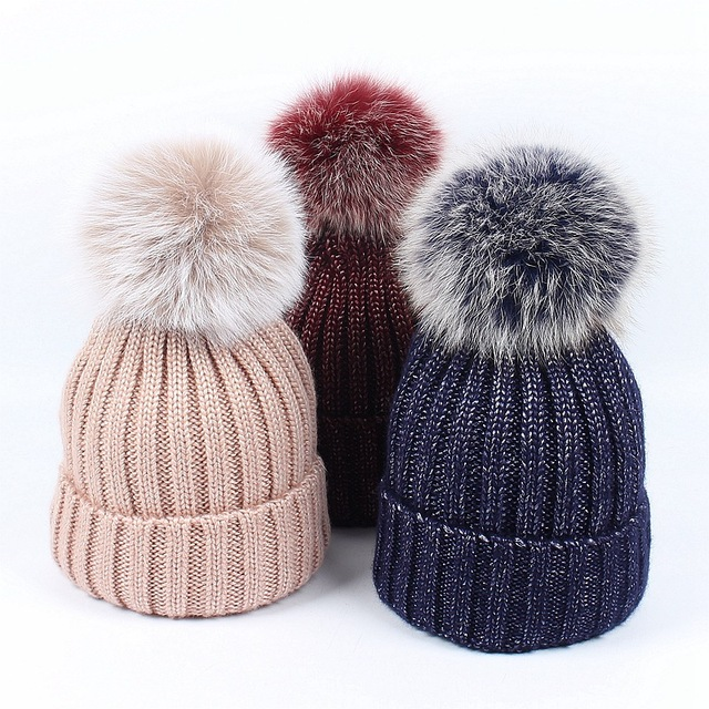 1bf02519a5bfa7 Bronzing gold and Silver Real Fox Fur Pom Pom Beanies Metallic Knitted  Skullies Caps Chunky Trendy