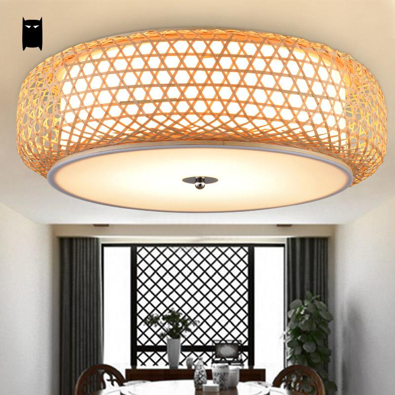 Ceiling Light Japanese: Bamboo Wicker Rattan Lantern Shade Ceiling Light Fixture