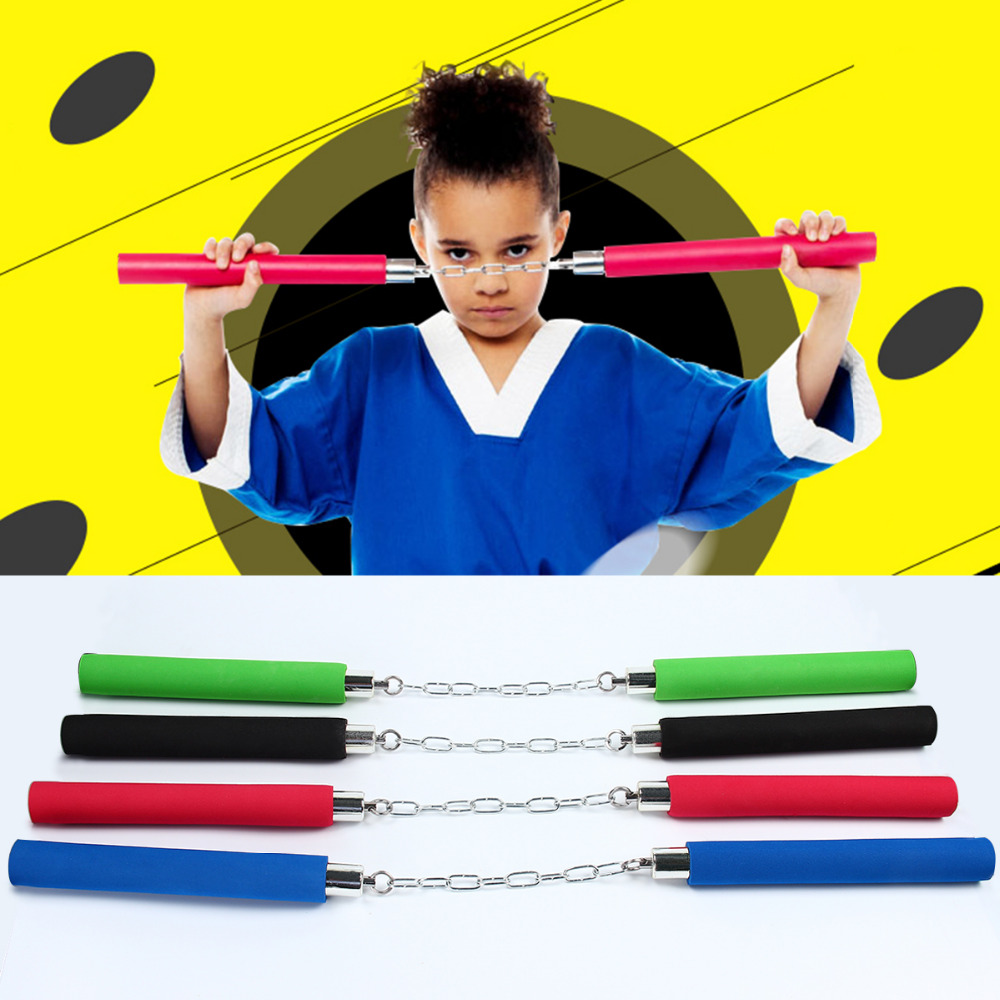 Hot Martial Art Foam Sponge Safe Fitness Nunchakus Karate Ninja Nunchucks With Stainless Steel Chain For Kids KungFu Beginners