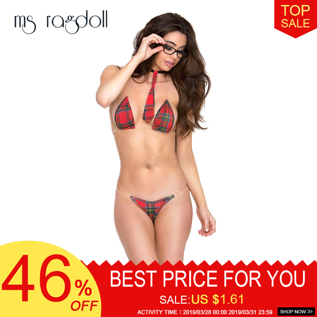 0eecc8ad4e Sexy Hot Costumes Three-point Bikinie Lingerie Set Sling Uniforms Tempt  students Cosply Lingerie Sex Intimate Women Nightwear