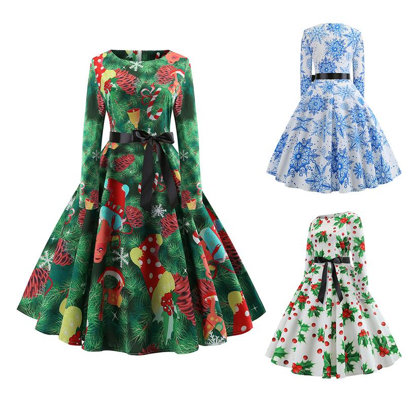 Casual Women Big Swing Dress O-Neck Long Sleeve Floral Print Dresses Summer Hepburn Vintage Dress Plus Size S-2XL