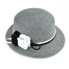 4ae7a667793 100% Australia Wool Women s Winter Auturmn Floppy Brim Camellia Fedora Hat  For Elegant laday Bucket