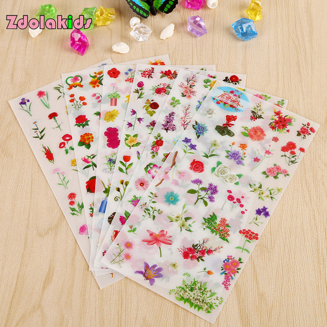 (6 sheets/lot) Colorful Floral Diary Stickers Post it Kawaii Planner Memo Scrapbooking Sticker Stationery School Supply Kids