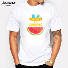 BLWHSA Men's 2017 Summer Ice Cream Watermelon Design T Shirt Casual Pure Cotton Custom T-Shirts High Quality Cool Male Tops Tee