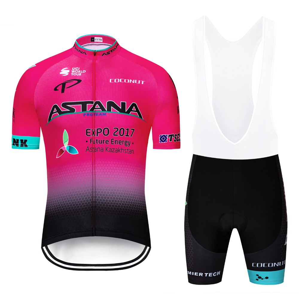84a24b988 2019 Team ASTANA Ropa Ciclismo Cycling Jersey Set for Men Short Sleeve  Summer MTB Bike Cycle Jersey Clothing Kit 12D GEL Padded