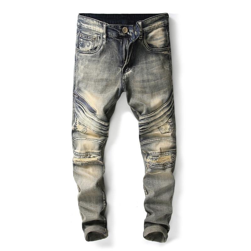 Men Ripped Jeans Pants Vintage Slim Pleated Motorcycle Pants Full Length Trousers Summer patchwork Denim Straight pants