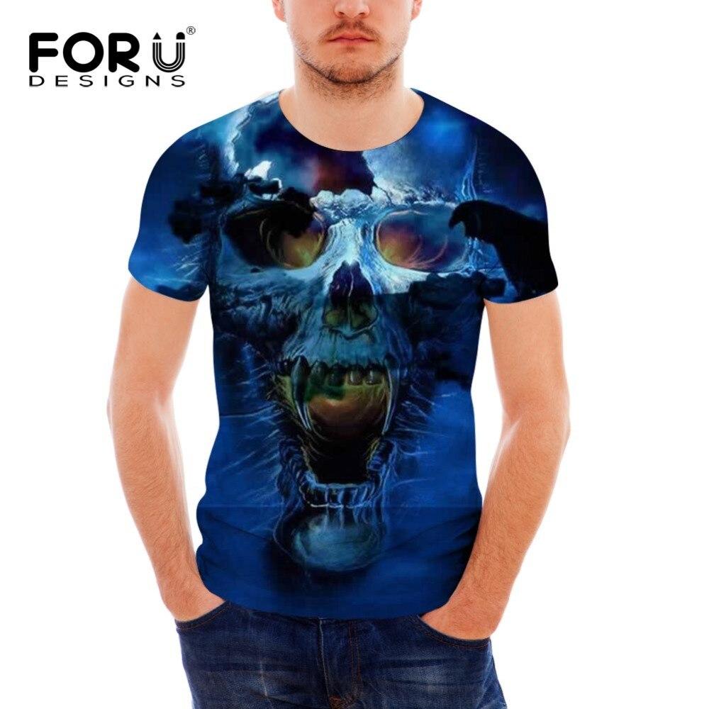 FORUDESIGNS Mens T shirt 3D Print Punk Style Skull O NECK T Shirt Summer Fashion Short