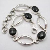 Chanti International Solid Silver OVAL BLACK ONYX Stones Heavy Bracelet 7 5/8 COMBINED SHIPPING