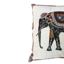 cotton linen chair seat throw pillow cover Decorative tapestry jacquard retro Indian elephant