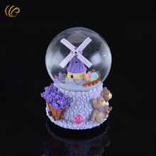 Hot Sale 10X10X15cm Lavender Design Crystal Ball Romantic Crystal Music Box Beautiful Gifts for Lover's Best Souvenirs