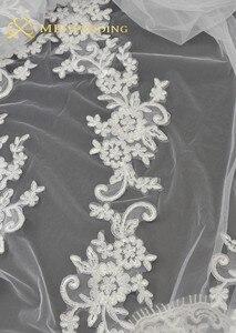 Image 5 - Novas fotos reais branco/marfim appliqued mantilla velos de novia véu de casamento longo com pente acessórios de casamento ee2003