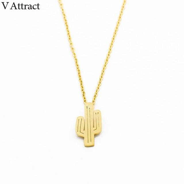 V привлечь 2017 Desert Jewelry Нержавеющаясталь Кактус Шарм Цепочки и ожерелья Подвески цвета: золотистый, серебристый минимализм Чокеры Ожерелья для мужчин для Для женщин