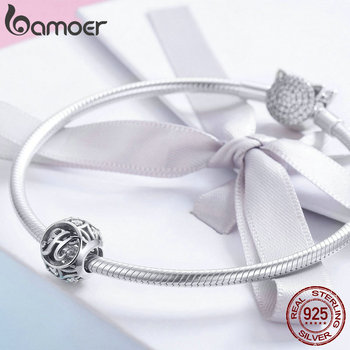 BAMOER Hot Sale 925 Sterling Silver Letter Collection A to Z Alphabet Charms Beads 4
